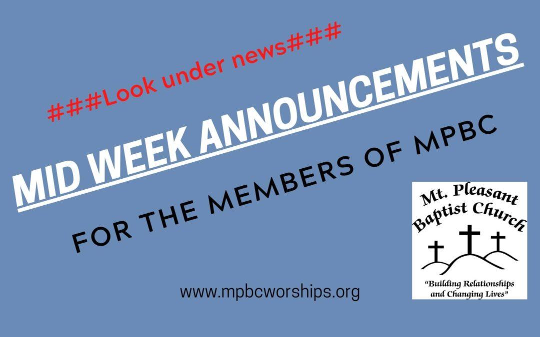 Mid Week Announcements 05.06.20